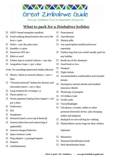 What to pack for Zimbabwe holiday checklist print