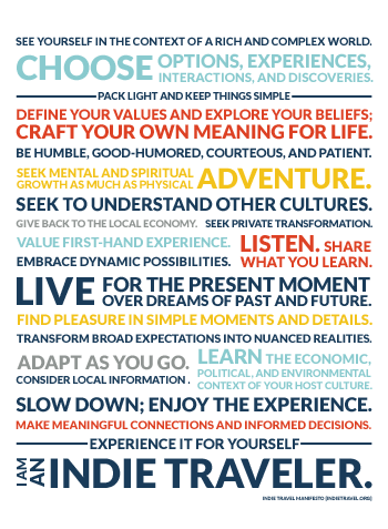 indie traveler manifesto