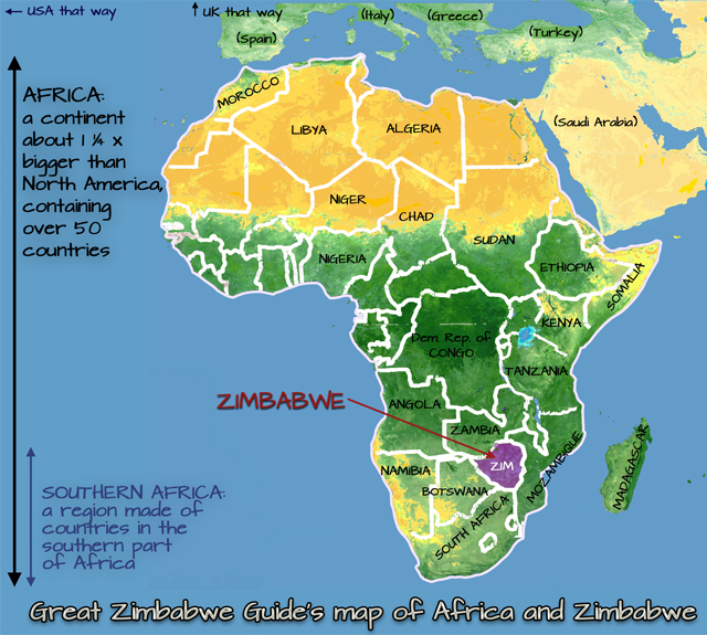 Map Of Africa Showing Zimbabwe.Great Zimbabwe Guide Practical Info
