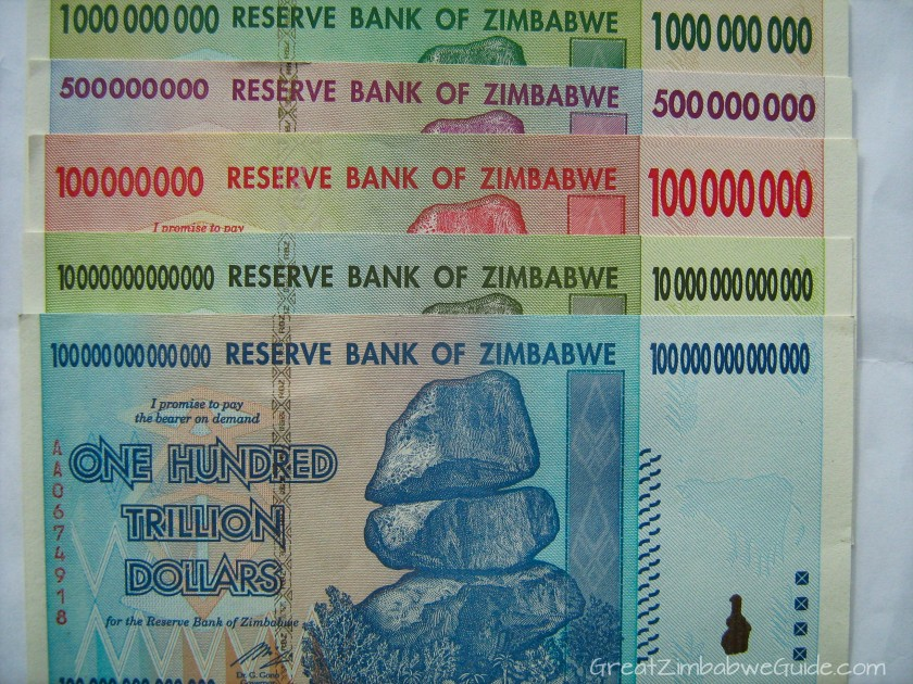 Great Zimbabwe Guide 2008 currency money hundred trillion dollars