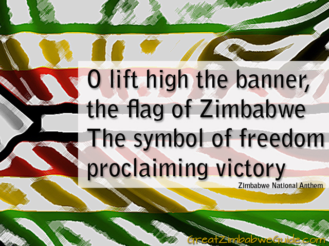 O lift high the banner the flag of Zimbabwe
