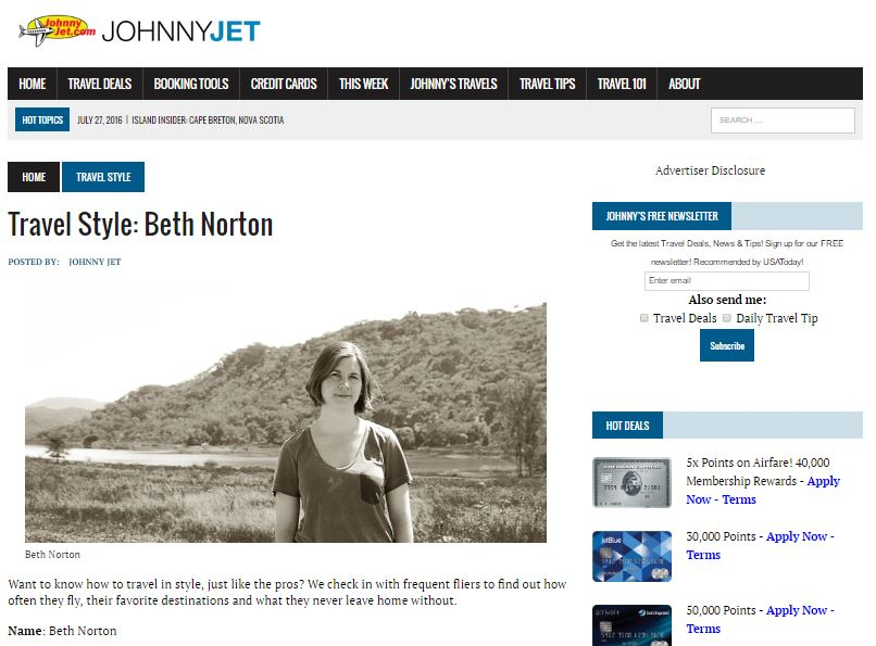Johnny Jet Beth Norton Travel Style